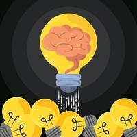 lançamento de lâmpada de ideia vetor
