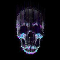 falha vetorial linha arte crânio crânio humano visão frontal iluminada por undermade por linhas verticais e partículas de cores e pixels vetor
