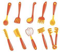 conjunto de utensílios de cozinha muitos utensílios de cozinha talheres espátula misture pinças garfo concha skimmer coleção de utensílios de cozinha ilustração vetorial plana para cozinhar vetor