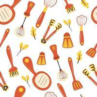 padrão sem emenda com utensílios de cozinha fundo de utensílios de cozinha padrão com fundo de utensílios de equipamento de cozinha para papel de parede de têxteis de menu de restaurante ilustração vetorial vetor