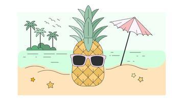 Vetor de abacaxi de férias
