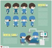 personagem de desenho animado dentista e unidade de atendimento odontológico em hospital vector flat design