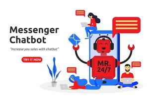 Projeto liso moderno do conceito do chatbot do mensageiro. assistente virtual vetor