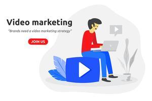 Vídeo social marketing conceito moderno design plano. Blogger de vídeo vetor