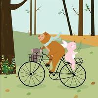 coelhinho de pelúcia fofo e coala se divertindo com o ciclismo na floresta vetor