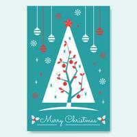 Cartaz com árvore de meados do século de Natal vetor