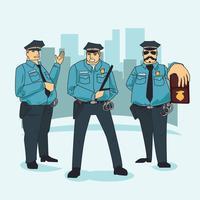 Grupo de policiais personagem vetor