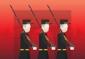 Ilustração francesa do dia do armistício, com edifício famoso de France, Europa. Guerra e veterano ilustração. Marco francês. vetor