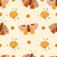 padrão sem emenda de boho com mariposas vetor
