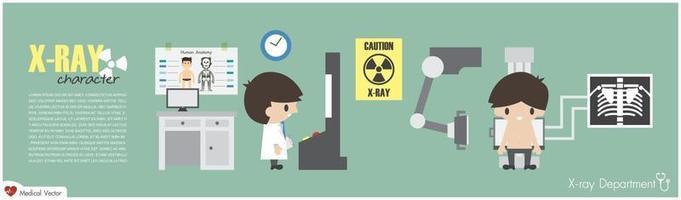 o tecnólogo radiológico do departamento de raios-x está fazendo imagens do tórax do projeto plano do vetor