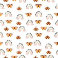 padrão sem emenda com arco-íris boho e mariposas vetor