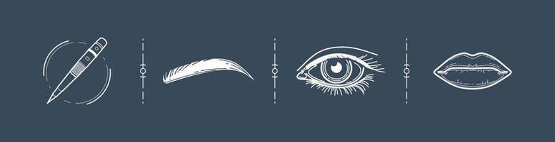 lábios olhos sobrancelhas tatuagem vetor