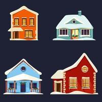 conjunto de casas decoradas vetor