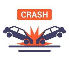 ícone de colisão de carro na ilustração vetorial plana de estrada vetor