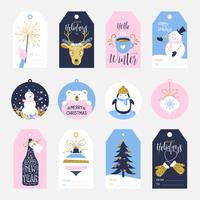 Tag imprimíveis do presente de época natalícia vetor