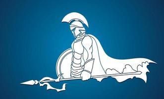 guerreiro espartano com lança vetor