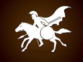 guerreiro espartano cavalgando vetor