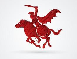 guerreiro espartano zangado a cavalo vetor
