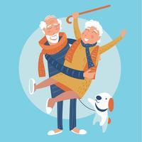 Os avós estão juntos para sempre no amor vetor