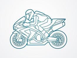 ação de corrida de moto vetor