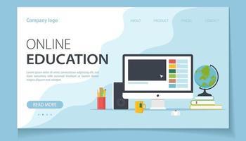 educação online com computador vetor