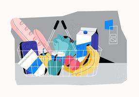 Cesta de compras de supermercado cheio de ilustração vetorial de comida plana vetor