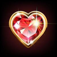 rubi brilhante em forma de coração vetor