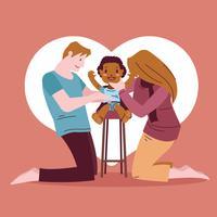 Família jovem com garota afro-americana adotada vetor