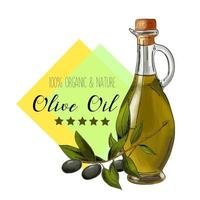 rótulo de azeite de oliva de vetor design elegante para embalagens de azeite de oliva
