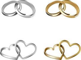 conjunto de anéis de casamento de ouro e prata entrelaçados vetor