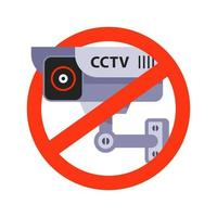 ilustração vetorial plana de sinal de proibição de vigilância por vídeo vetor