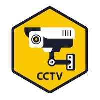 placa amarela está sob videovigilância ilustração vetorial plana vetor