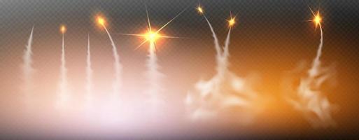 avião condensação trilhas jato fumaça isolado vetor definido foggy trail jet ou avião efeito esfumaçado após foguete flash foguetes ilustração vetorial