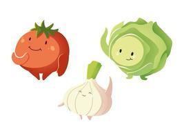 Coleção engraçada de cebola, alface e tomate, desenhos animados de vegetais detalhados vetor