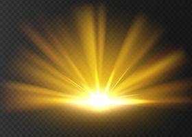 abstrato dourado brilhante luz dourada brilho explosão isolada em um fundo transparente brilhante e brilhar ilustração vetorial estrela de luz dourada vetor