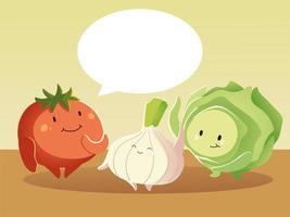 Alface e cebola tomate fofos desenhos animados de vegetais falantes vetor