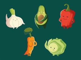conjunto de desenho animado engraçado cenoura abacate pimenta cebola e vegetais alface detalhado vetor