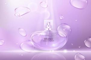 ilustração em vetor de um perfume de estilo realista em uma garrafa de vidro grande cartaz publicitário para promover uma nova fragrância