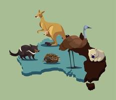 mapa da austrália com animais fofos e vida selvagem vetor