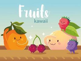 frutas kawaii rosto engraçado felicidade laranja pêssego cereja desenho de amoras vetor