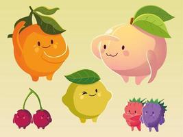 frutas kawaii rosto engraçado felicidade desenho animado laranja pêssego limão amoras e cereja vetor