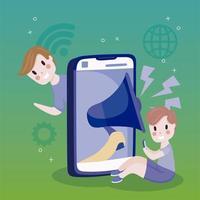 menino usando celular e smartphone grande marketing de desenho em mídia social vetor