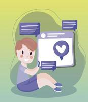 menino usando smartphone enviando mensagens de texto de desenho animado romântico de mídia social vetor