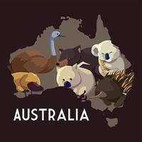animais mapa australiano animais selvagens incluem coala wombat ema ouriço vetor