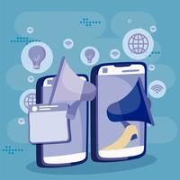 smartphones megafone marketing publicidade cartoon nas redes sociais vetor