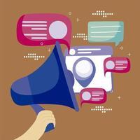 mão com alto-falante de megafone mensagens publicitárias desenho de mídia social vetor