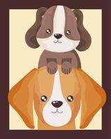 retrato de desenho animado de cachorrinhos fofos vetor