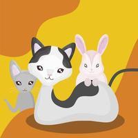 animais domésticos animais gatos fofos e coelho desenho animado vetor