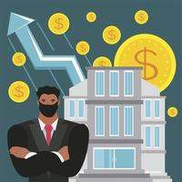 investimento financeiro e poupança de sucesso do empresário vetor