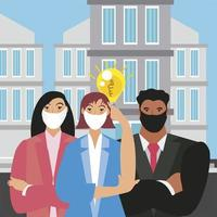 empresários pensam em uma nova ideia criativa para o mercado vetor
